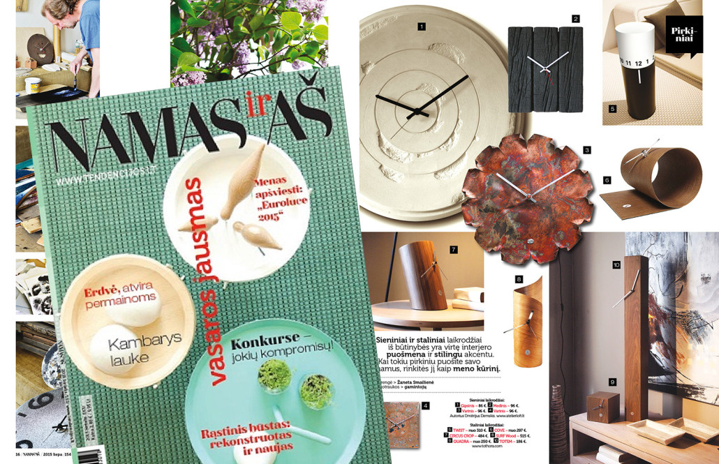 Tothora design clocks in the Lithuania magazin NAMASirAS